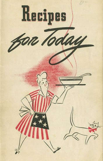 "Image of ""Recipes for Today"" cover, with drawing of a woman wearing an American flag dress"
