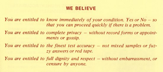 "Red text on a yellow background. The heading is ""We believe"" and is followed by Remington's beliefs that women are entitled to know if they're pregnant, as well as privacy, accuracy, dignity, and respect."