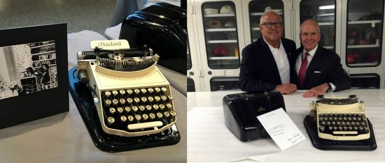Left: A small yellow and black typewriter. Right: two men standing behind that same typewriter in a collections storage space.