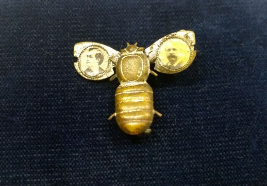 A gold pin shaped like a bee or insect. Its wings are out and there are tiny portraits of two men on them.