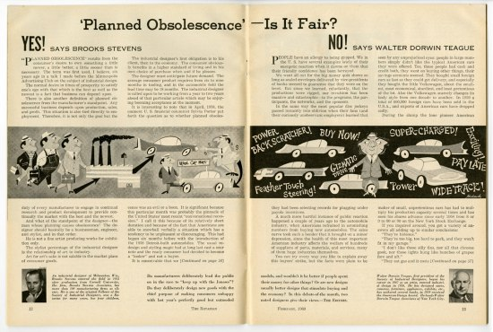 "A scan of a two page spread from a 1960 issue of the Rotarian magazine. Each page contains a column arguing in favor or against planned obsolescence. The tile reads: ""Planned Obsolescence – Is it fair?"""