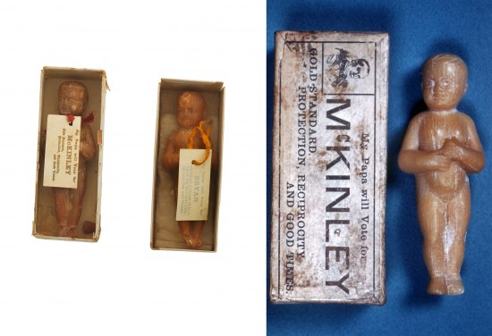 2 images: Almond-colored objects resembling babies lying in paper boxes with tags lying on top of them. The right side is one of the babies laid on a blue cover next to a paper box turned over to show writing printed on it.