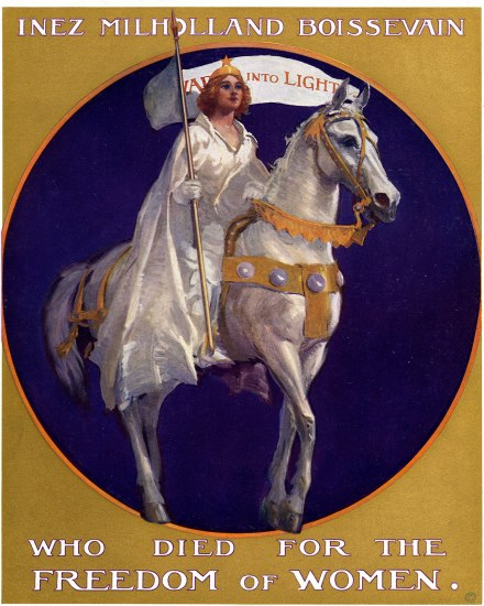 A poster of an illustrated woman in white robes with a tiara on her chestnut hair. She carries a white standard in her white gloved hand as she sits atop a white horse. Behind her is a round, cobalt blue background surrounded by gold. There is text above and below the woman.