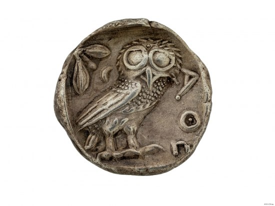 Coin with owl on it