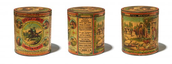 Three views of a jar or container covered with illustrations of animals and people, with some text scattered throughout.