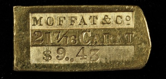 "Gold ingot stamped with text ""Moffat & Co., 21 7/16 Carat"""