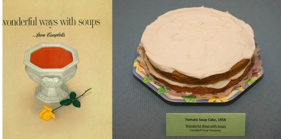 Left: Cookbook with a serving bowl full of red soup, with a yellow rose next to it. Right: Slightly orange cake with white frosting.