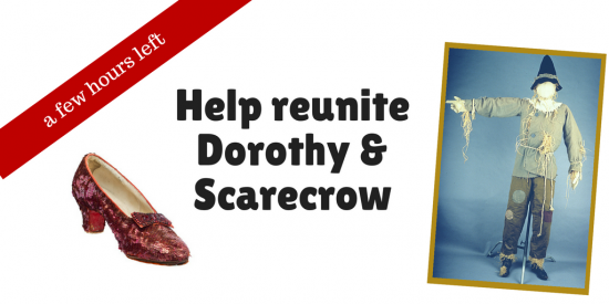 Graphic including Dorothy's Ruby Slipper (just one) and a photo of Scarecrow's costume