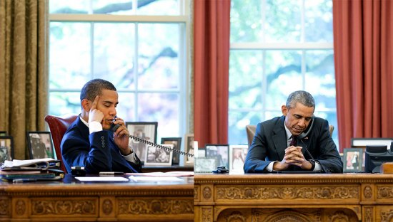 two pictures of Obama juxtaposed against each other. He sits at his desk in the Oval Office listening to someone on the phone. In the left, he has dark hair. In the right, he has aged and his hair is gray.