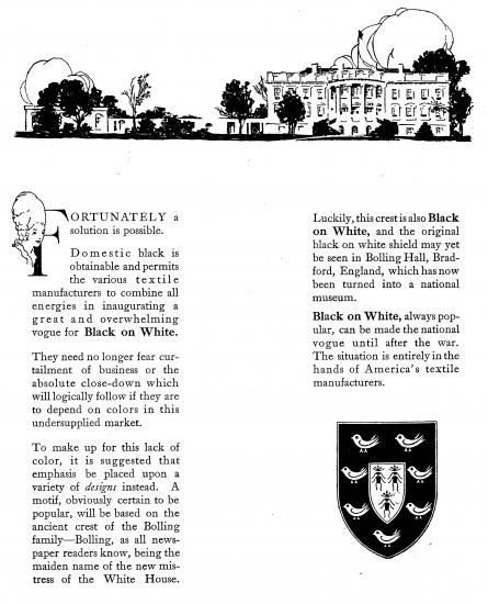 "Brochure with text and bucolic landscape illustration. Text begins: ""Domestic back is obtainable and permits the various textile manufacturers to combine all energies in inaugurating a great and overwhelming vogue for Black on White."""
