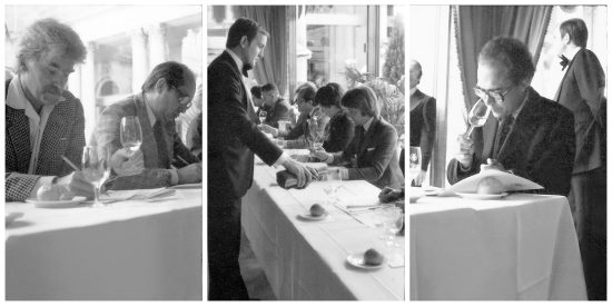 Series of three images of a wine tasting