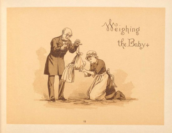 An illustration of a man in a long coat holds some sort of scale in his hands. A baby in a long gown is hanging inside of it. A woman kneels next to the baby.