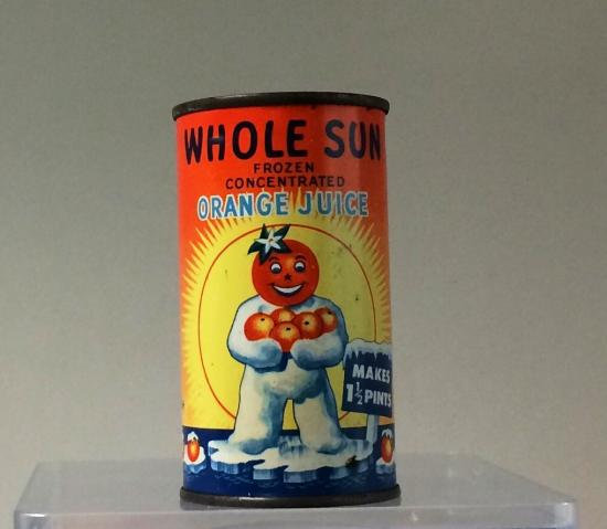 A can of frozen orange juice