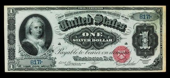 Martha Washington one silver dollar note