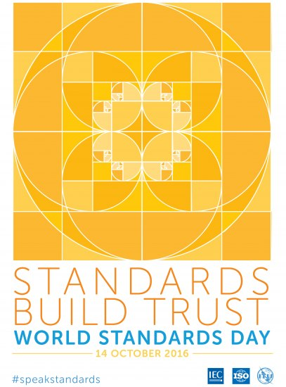 Poster with hashtag #SpeakStandards and yellow geometric design