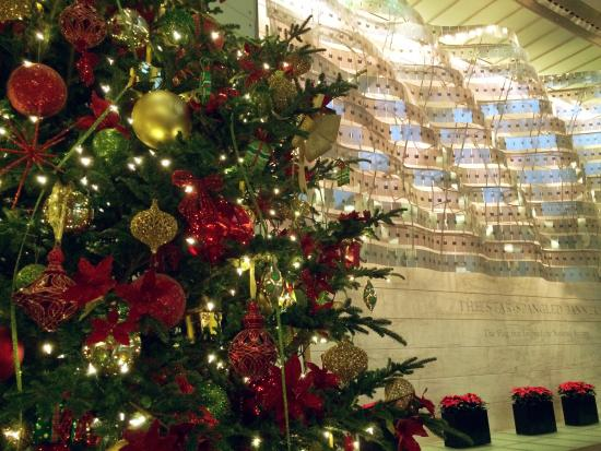 Holiday tree and abstract American flag sculpture