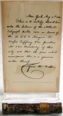 Section of cable with letter of authenticity signed by Cyrus Field