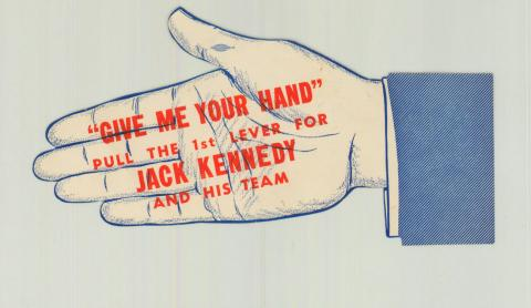 Campaign Sticker With A Stylized Hand For JFK