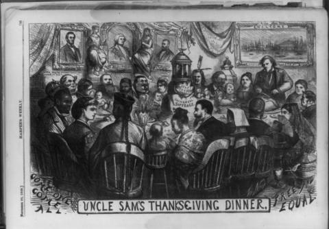 Diverse figures are gathered around a Thanksgiving table in this illustration
