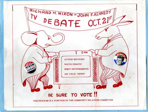 Hand-drawn sign urging people to watch the Nixon-JFK debate