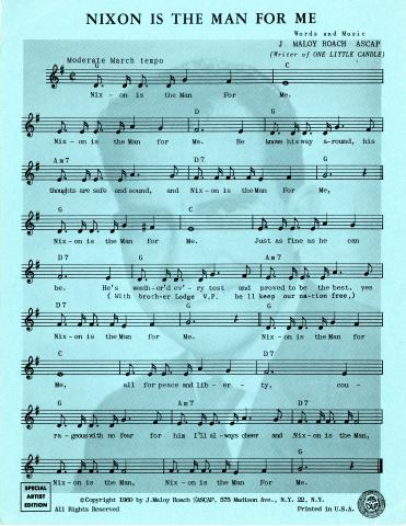 Blue sheet music for a song about Nixon