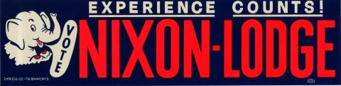 Campaign bumper sticker for Nixon-Lodge with cartoon elephant