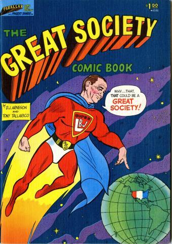 Comic book featuring LBJ in a superhero outfit