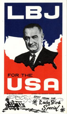 Campaign postcard in red, white, and blue for LBJ