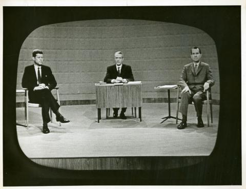 JFK And Nixon On Screen About To Debate