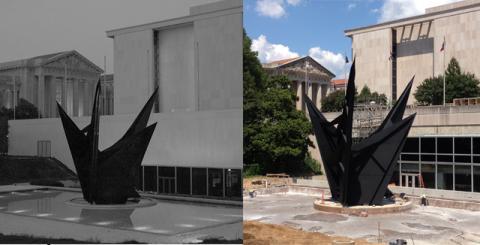 2 photos of large sculpture