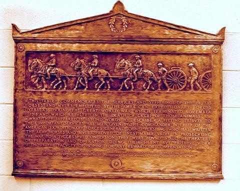 Plaque featuring horses and mules in the military