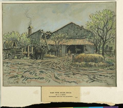 Barn with Mules, Boucq. J. Andre Smith. Official Art from the American Expeditionary Forces in World War I.