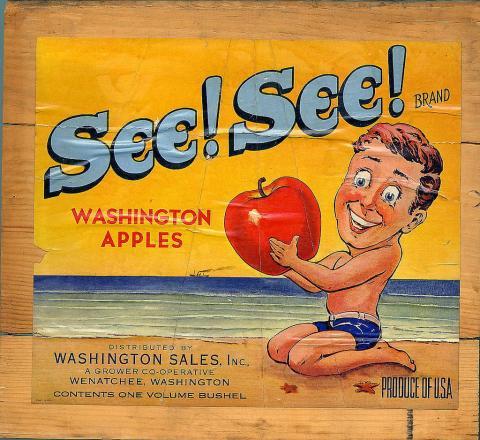 See! See! brand Washington apple crate label