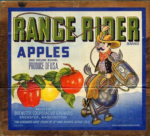 Range Rider apple crate label