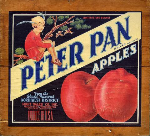 Peter Pan apple crate label featuring an image of Peter Pan wearing a red outfit and hat
