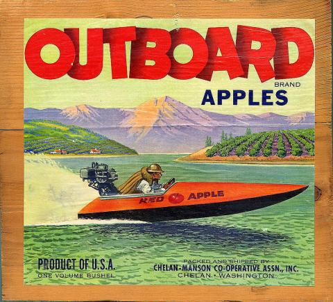Apple crate label featuring an image of a speedy boat