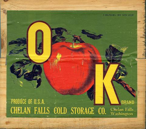 Apple crate label with the word OAK