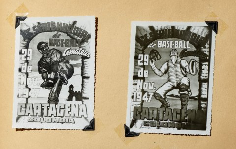 Two advertisements for the 1947 Amateur World Series with cartoon illustrations of a baseball pitcher and catcher