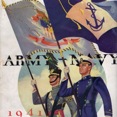 """Two men in dress uniform stride forward carrying flags, one for the army and one for the navy. The program says """"Army-Navy"""" and """"1941 Fifty Cents"""" on the cover"""