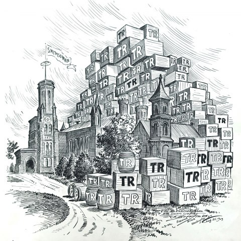 """Cartoon illustration of the Smithsonian Castle on the National Mall buried underneath stacks of crates and barrels marked with the initials, """"TR."""""""