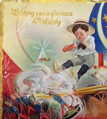"Postcard-sized illustration in color featuring three children. Two little boys light fireworks and play with toy soldiers while a little girl covers her ears and clutches a doll. Text reads ""Wishing you a glorious 4th of July"" in gold."