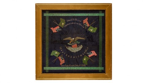 """Square banner for boxer John L. Sullivan showing flags and the phrases """"Champion of the world…May the best man win"""""""