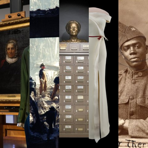 Collage of images taken from various blog posts, from photos of gowns to a portrait of a soldier in World War 1