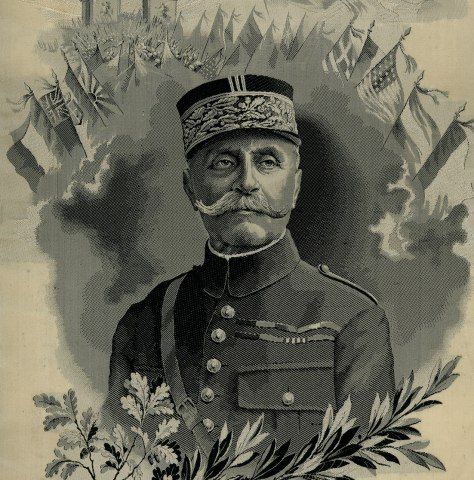 Likeness of Ferdinand Foch in black, white and gray against a gray background surrounded by celebratory and commemorative details