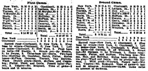 "From the New York Times on September 2, 1894, in an article titled ""Cincinnati Won One Game"""