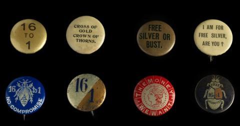 Six political buttons