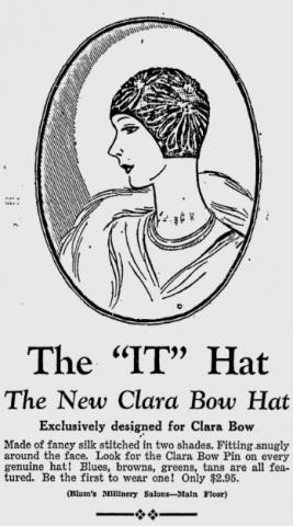"Ad for ""It"" girl hat"