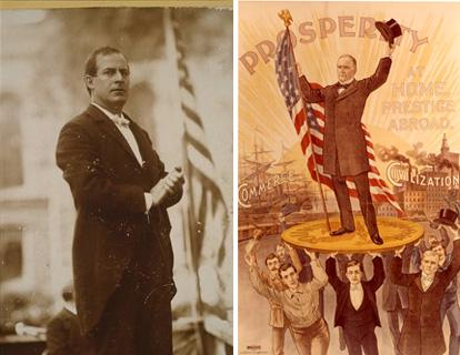 Left: photo of William jennings Bryan in front of a flag. right: illustrated poster of William KcKinley held aloft by other men.