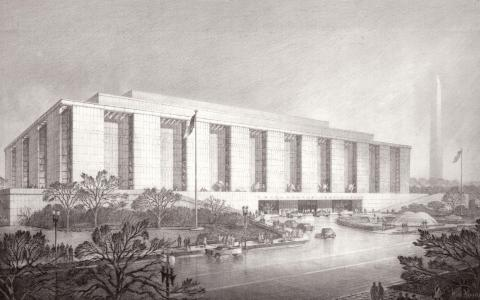 Rendering in pencil of Museum of History and Technology