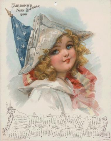 Paper calendar featuring a young girl